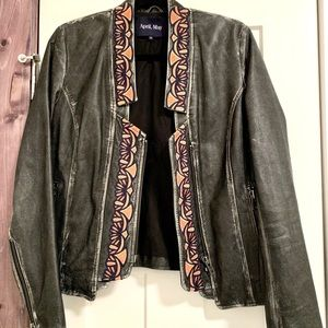 April, May leather embroidered jacket - size M